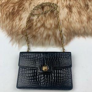 Gucci RARE Vintage Crocodile Black Handbag 60's